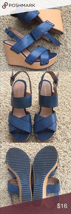 "Massini ""Joplin"" denim blue sandal wedge sz 7 Like new!  Barely wore these.  Massini brand.  Beautiful denim blue.  Light weight & comfy. Sz 7 - true to size. Massini Shoes Wedges"