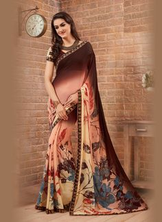 An exclusive online store of designer saree. Grab this striking print work casual saree for casual and party.