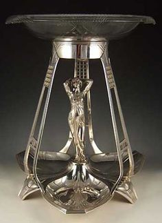WMF Figural Maiden Centrepiece - Art Nouveau - Silver Plate on Mixted Metal, 1906, Germany