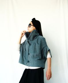 NO.85 Greyish Blue Cotton-Blend Cocoon Top Trendy by JoozieCotton