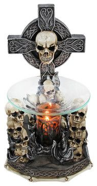 Wicked Celtic Cross Skulls Electric Oil Warmer - contemporary - Home Fragrance - Things2Die4