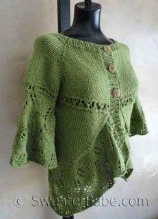 #119 Eyelets and Lace Curved Hem Cardigan PDF Knitting Pattern  #SweaterBabe.com #knitting