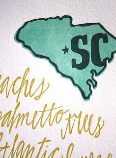 South Carolina Letterpress Print Limited Edition