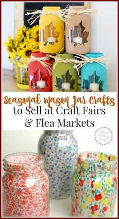 Seasonal Mason Jar Crafts to Sell at Craft Fairs & Flea Markets - Selling unique seasonal or holiday themed specialty crafts is a super easy way to earn extra cash on the side. This is an awesome list of 13 craft ideas to sell for extra money. Mason Jar Projects, Mason Jar Crafts, Crafts With Mason Jars, Lace Mason Jars, Crafts For Teens, Crafts For Kids, Kids Diy, Summer Crafts, Fall Crafts
