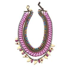Iosselliani Multi Strand Collar Necklace ($171) ❤ liked on Polyvore featuring jewelry, necklaces, accessories, collares, pink, beaded choker necklace, bead necklace, multi strand chain necklace, adjustable chain necklace and collar necklace