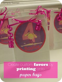 Create custom favor bags by printing onto paper bags- super easy and cheap- gymnastics birthday party