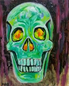 original Oil Painting Skull Skeleton Surrealism Abstract D.Oberling #Abstract