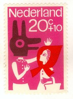 RRH postage stamp, Nederland, Holland,  Little Red Riding Hood