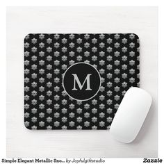 Simple Elegant Metallic Snowflake Monogramed Mouse Pad Holiday Cards, Christmas Cards, Christmas Decorations, Custom Mouse Pads, Marketing Materials, Christmas Card Holders, Hand Sanitizer, Gifts For Him, Snowflakes