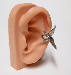 Silver Steampunk Dragon Ear Cuff dragon body wrap by chinookhugs