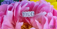 This stylish white gold wedding band ring features 5 emerald cut and 64 round brilliant cut white diamonds, of F color, clarity and excellent cut and brilliance, weighing carats total. White Gold Wedding Bands, Wedding Rings For Women, Wedding Ring Bands, White Diamonds, Look At You, Emerald Cut, Band Rings, Great Gifts, Rest