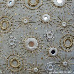 Shisha Mirror Embroidery, by Misako Mimoko Indian Embroidery, Hand Embroidery Designs, Embroidery Applique, Beaded Embroidery, Cross Stitch Embroidery, Embroidery Patterns, Crazy Quilting, Embroidered Cushions, Art Textile