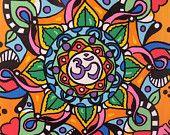 OM Art, Mandala,  Hippie Art, Yoga Art, Original on Canvas