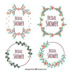 Flat pack of four bridal shower frames with cute flowers #Free #Vector #Flower #Frame #Wedding #Floral #Party #Love #Flowers #Design #Frames #Cute #Color #Celebration #Floralframe #Event #Flat #Decoration #Flowerframe #Flatdesign #Decorative #Celebrate