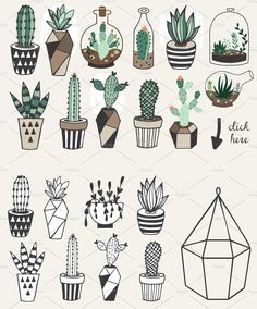 Gorgeous succulents, cactus planner doodles and bullet journal drawings - Doodle and Draw - Cactus Doodle Drawings, Doodle Art, Cute Drawings, Cactus Drawing, Plant Drawing, Succulents Drawing, Planner Doodles, Bujo Doodles, Bullet Journal Inspiration