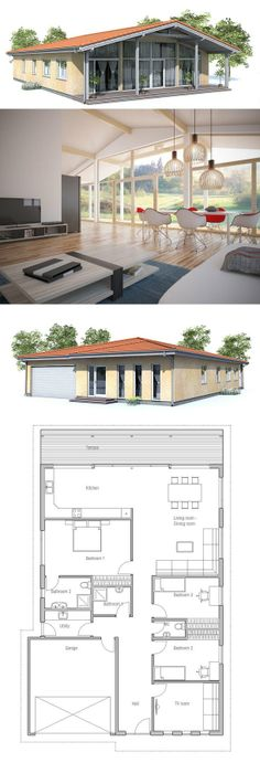 Small House Plan to narrow lot. Small home design with vaulted ceiling in the living area, covered terrace, three bedrooms.