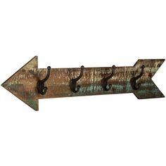 Wood Arrow Wall Decor with 4 Hooks