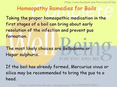 Practical Life Tips For You And Me: #Homeopathy #Remedies foe #Boils
