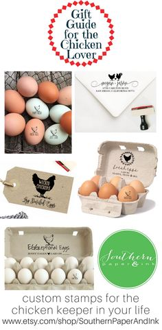 A great HOLIDAY GIFT GUIDE for the chicken lover, chicken keeper or homesteader on your list. Grab a fresh eggs stamp, chicken address stamp or an egg carton stamp for anyone with backyard chickens or a chicken coop. Shop now at Southern Paper and Ink on Etsy.