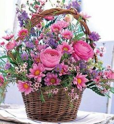 Cheer Up Flower Basket: Flower Bouquets - A heartwarming bouquet to show you care. Summer Flowers, My Flower, Silk Flowers, Beautiful Flowers, Purple Flowers, Pretty Roses, Fresh Flowers, Pink Roses, Flower Power