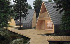4 Cool A-Frame Cabin Kits & Prefab House Designs Prefab Cabin Kits, Prefab Cabins, Prefab Cottages, Prefab Houses, Log Cabins, Cabin Design, Roof Design, House Design, Eco Cabin