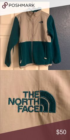 North Face two toned jacket Gray and teal fleece jacket. Perfect for winter! Size is girls XL - I usually wear a women's medium and it fits great! The North Face Jackets & Coats