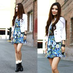 Charlotte Russe White Light Jacket, Urban Outfitters Floral Dress, Topshop Cut Out Boots