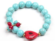 Simple Style Single Strand Blue Turquoise Beads Stretch/ Elastic Bracelet With Red Heart Charm