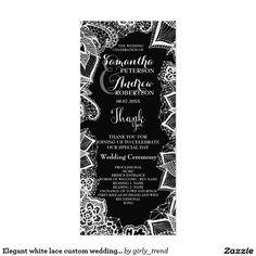 Elegant white lace custom wedding program rack card template