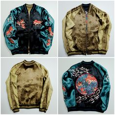 AdddddA16 Vintage Japanese Japan Classic Script Goldfish Kingyo Sakura Cherry Blossoms Turquoise Tattoo Art Embroidery Embroidered Bomber Sukajan Souvenir Jacket (SIZE: M ) - Japan Lover Me Store