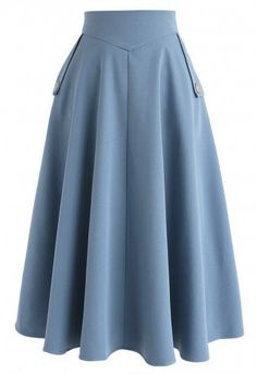 Classic Simplicity A-Line Midi Skirt in Blue Retro Indie and Unique Fashion - . Classic Simplicity A-Line Midi Skirt in Blue Retro Indie and Unique Fashion - Midi Skirts - Ideas of Midi Skirts Unique Fashion, Vintage Fashion, Fashion Ideas, Indie Fashion, Classic Fashion, Classic Outfits, Blue Fashion, Work Fashion, Fashion Fashion