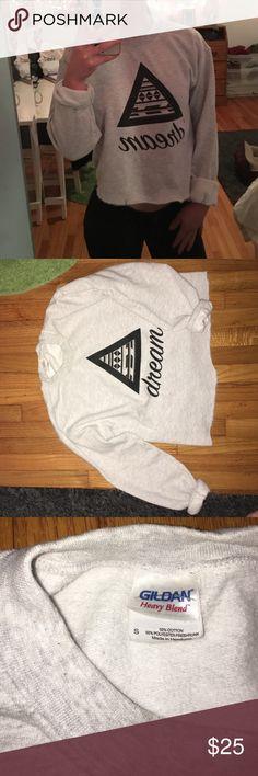 Gray Crop Crew Neck Dream custom made super comfy and cute! Sweaters Crew & Scoop Necks