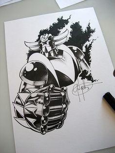 #Goldorak ou #Grendizer à l'encre format A4 Gundam, Comic Books Art, Comic Art, Art Diy, Super Robot, Popular Art, Dbz, Oeuvre D'art, Anime Manga