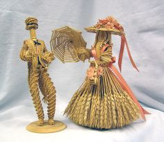 Vintage Handmade FOLKART - Wheat Weave Woman and Man Couple Dolls Straw by MermeowTreasures on Etsy