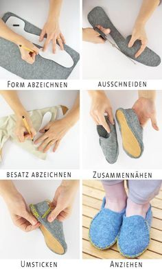 felted old sweaters DIY ideetje voor kindersloffen uit vilt Lasso Wool Slippers - The New DomesticExceptional 10 Sewing tips are available on our web pages. Read more and you wont be sorry you did.Easy 15 Sewing projects are offered on our Amaz Felt Shoes, Shoe Pattern, How To Make Shoes, Love Sewing, Sewing Diy, Sewing Projects For Beginners, Diy Projects, Sewing Patterns Free, Sewing Hacks