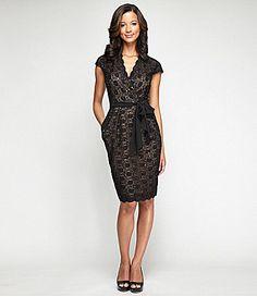 Alex Evenings Lace Surplice Dress #Dillards