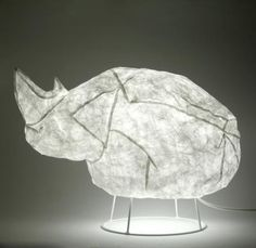 Rhino Lamp made with Tyvek Chauvet Cave, Inflatable Furniture, Lamp Switch, Home Gadgets, Room Accessories, School Design, Lamp Light, Sculpting, Lights