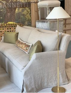 Our inviting Elisa Sofa, paired with a clean, classic European inspired brass floor lamp. Available online and in the shop! Furniture Slipcovers, Home And Living, Furniture, Living Room Sofa, Home Furniture, Paint Colors For Living Room, Interior Design, Home Decor, Room