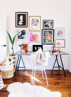Photo frames of flowers are a great way to brighten a small work space or a rental property