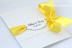 yellow and white invitation Embossed Wedding Invitations, Yellow Wedding Invitations, Graduation Invitations, Wedding Invitation Cards, Wedding Stationery, Birthday Invitations, Wedding Cards, Flower Invitation, Unique Cards