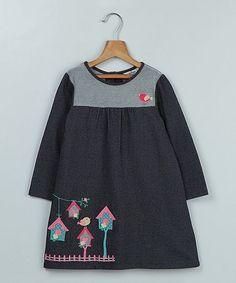 Look at this #zulilyfind! Blue Twill Bird House Babydoll Dress - Infant, Toddler & Girls #zulilyfinds