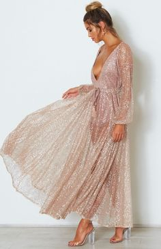 ef20aabb279a Ailani Rose Gold Chiffon Glitter Dress Rose Gold Gown, Gold Dress, Gold  Outfit,