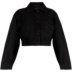 Saint Laurent Cropped denim jacket ($1,490) ❤ liked on Polyvore featuring outerwear, jackets, tops, coats, black, yves saint laurent jacket, cropped jacket, cocoon jacket, cocktail jackets and cropped denim jacket