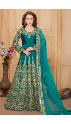 Teal Green Silk And Taffeta Anarkali Churidar Suit With Dupatta - DMV14542