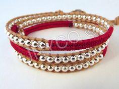 Wikkelarmbanden - Trendy leren triple herringbone wrap rood/zilver - Een uniek product van Unycq op DaWanda