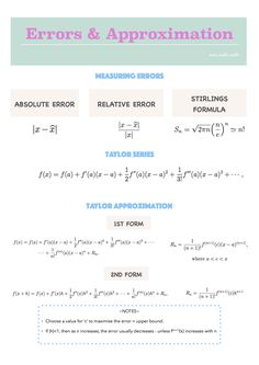 Absolute / Relative Error  Taylor Series / Taylor Approximation Stirlings…
