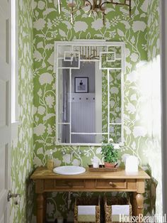 bathrooms - White Faux Bamboo Mirror green chinoiserie bathroom white greek key mirror white green wallpaper James Merrell Photography via House Powder Room Decor, Powder Room Design, Powder Rooms, Design Room, Bamboo Mirror, Diy Mirror, Mirror Vanity, Wood Vanity, Mirror Ideas
