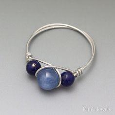 Blauer Kyanit & Lapis Lazuli 925er Silber Draht von KimsJewels