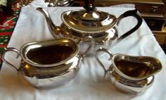 Art deco #barkers bros, #sheffield, #silver plated 3 pcs tea set 2 pint teapot,  View more on the LINK: 	http://www.zeppy.io/product/gb/2/112264777173/