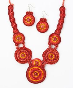 Look what I found on #zulily! Red & Copper Circle Swirl Bib Necklace & Drop Earrings #zulilyfinds